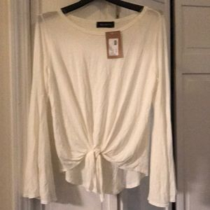 NWT Six Fifty ivory tie front bell sleeve top